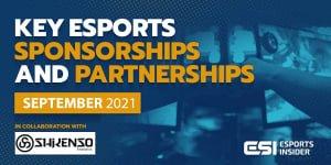 Key esports sponsorships and partnerships, September 2021